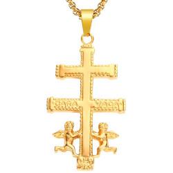 Grand Pendentif Croix de Caravaca Acier Plaqué Or + Chaîne bobijoo