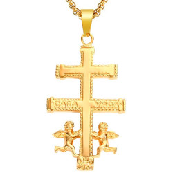 PE0176 BOBIJOO Jewelry Large Pendant Cross of Caravaca Gold-Plated Steel + String