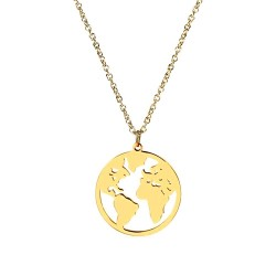 PEF0052 BOBIJOO Jewelry Round Pendant World Map Traveller Gold-Plated + Chain