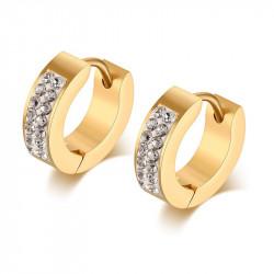 Earrings Hoops Rhinestone Steel Gold Woman Girl