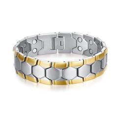BR0269 BOBIJOO Jewelry Amplia Magnética Pulsera De Hombre De Acero, Plata, Oro