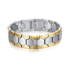 Large Bracelet Magnétique Homme Acier Argenté Or bobijoo