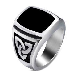 BA0288 BOBIJOO Jewelry Ring Siegelring Cabochon Stahl Keltische Knoten