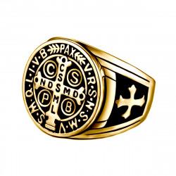 BA0290 BOBIJOO Jewelry Il Sigillo Della Croce Anello Di San Benedetto, Con Patina Oro