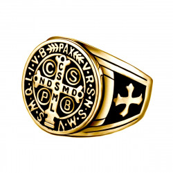 BA0290 BOBIJOO Jewelry Signet Cross Ring Saint Benedict Patina Gold