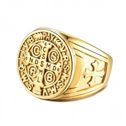 BA0291 BOBIJOO Jewelry Sello De La Cruz Anillo De San Benito Bruto De Oro