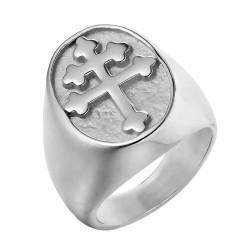 BA0289S BOBIJOO Jewelry Ring Siegelring Kreuz von Lothringen, Anjou Stahl Silber