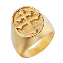 BA0289 BOBIJOO Jewelry Anillo sortija de Sello de la Cruz de Lorena, Anjou de Acero de Oro