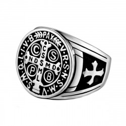 BA0290S BOBIJOO Jewelry Signet Cross Ring Saint Benedict Patinated Silver