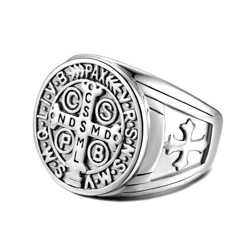 BA0291S BOBIJOO Jewelry Signet Cross Ring Saint Benedict Gross Money