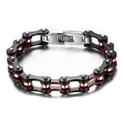 BR0132 BOBIJOO Jewelry Bracciale Catena Bici In Acciaio Bordeaux Nero