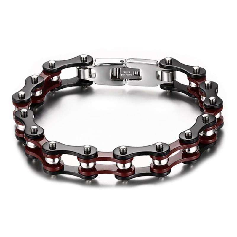 BR0132 BOBIJOO Jewelry Bracelet Chaine de Moto Acier Bordeaux Noir