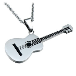 PE0134 BOBIJOO Jewelry Pendant Classical Guitar 316L Steel at your Choice + Chain