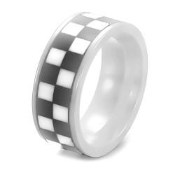 BA0223 BOBIJOO Jewelry Ring-Ring-Pad Mosaik Schachbrett Keramik