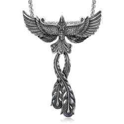 PE0177 BOBIJOO Jewelry Anhänger Phoenix feuervogel Mann Stahl + Kette