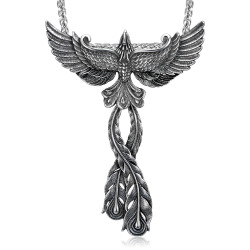 PE0177 BOBIJOO Jewelry Pendant Phoenix Bird of Fire Man Steel + String
