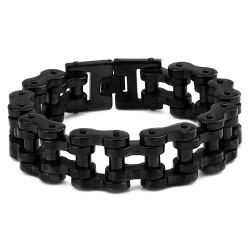 Gros Bracelet Biker Chaine de Moto Acier Inox Noir bobijoo