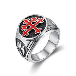 BA0293 BOBIJOO Jewelry Anillo Anillo anillo de Cruz de Lorena, Rojo Fleur de Lys