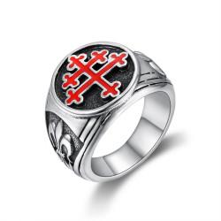 BA0293 BOBIJOO Jewelry Ring Siegelring Kreuz von Lothringen Rot Fleur-de-Lys