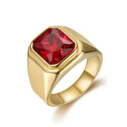 BA0294 BOBIJOO Jewelry Anello Anello Cabochon Quadrato In Acciaio Oro Falso Ruby