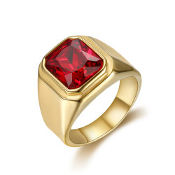 BA0294 BOBIJOO Jewelry Ring Signet Ring Cabochon Square Steel Gold Fake Ruby