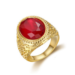 BA0295 BOBIJOO Jewelry Imposing Ring Signet Ring Steel Gold Fake Ruby