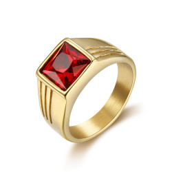 BA0296 BOBIJOO Jewelry Ring Siegelring Cabochon Diskret Quadratisch Stahl Gold Rubin