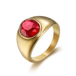 BA0297 BOBIJOO Jewelry Ring Signet Ring Cabochon Discreet Oval Steel Gold Ruby