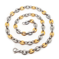 COH0020 BOBIJOO Jewelry Collar de cadena de Café en grano 2 de Tono de Acero Chapado en Oro Doradas