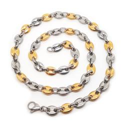 COH0020 BOBIJOO Jewelry Collier Chaîne Grain de Café 2 Tons Acier Plaqué Doré Or