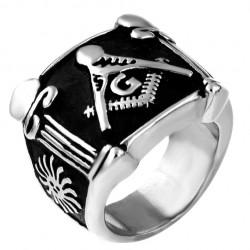 BA0298 BOBIJOO Jewelry Ring Siegelring Freimaurer Spalten Stahl Silber