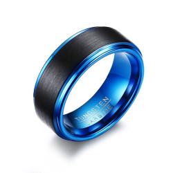 BA0299 BOBIJOO Jewelry Bague Chevalière Alliance Homme Tungstène Bleu Noir Mat