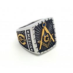 BA0027 BOBIJOO Jewelry Signet Ring Master Frank Mason Masonry Masonic Freemason Master Stainless Steel