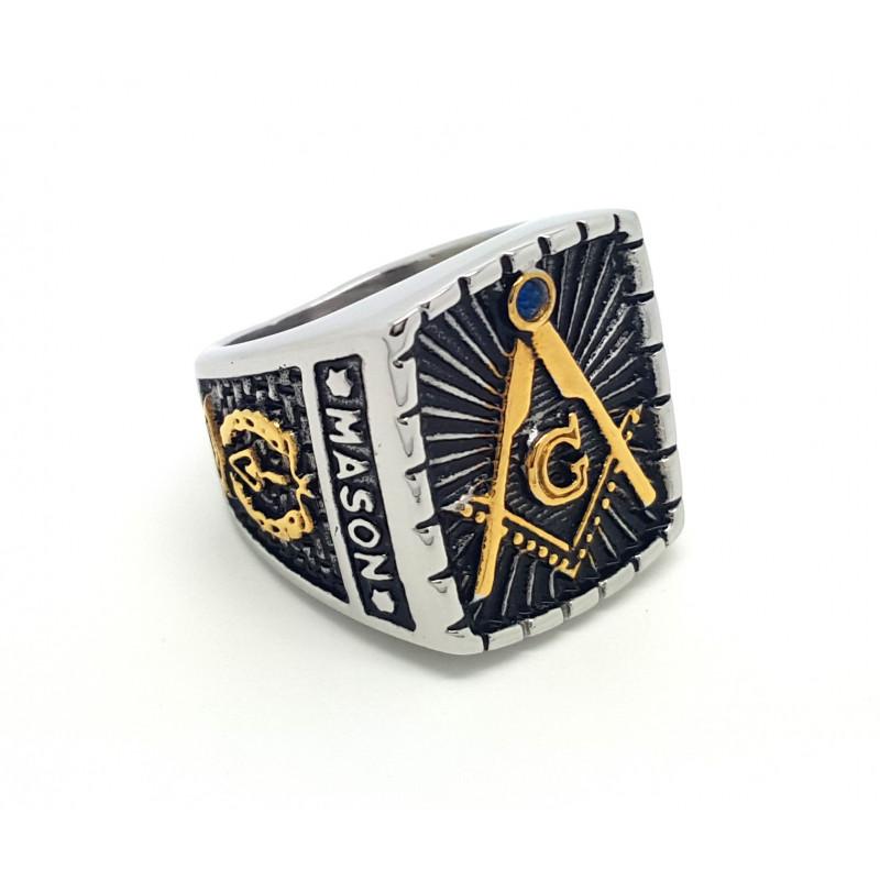 BA0027 BOBIJOO Jewelry Anello Con Sigillo Maestro Frank Mason Muratura Massonica Massone Master In Acciaio Inox