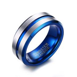 BA0300 BOBIJOO Jewelry Bague Chevalière Alliance Homme Tungstène Bleu Argent