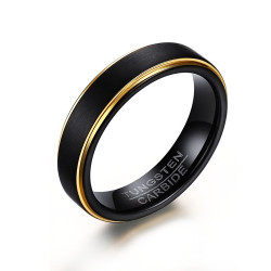 Bague Alliance 5mm Tungstène Noir Or bobijoo