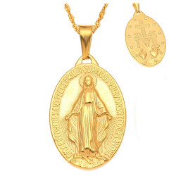 PEF0045 BOBIJOO Jewelry Pendentif Médaillon Vierge Miraculeuse Marie Acier Or Plaqué