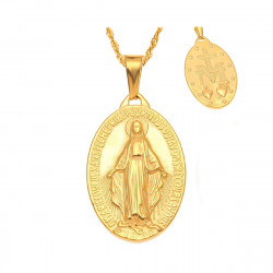 PEF0047 BOBIJOO Jewelry A Small Pendant Medallion, Virgin Mary Stainless Steel Gold Golden