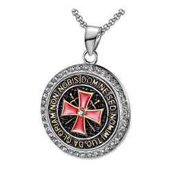 PE0158 BOBIJOO Jewelry Pendant Templar Steel Rhinestone Cross Non Nobis + String