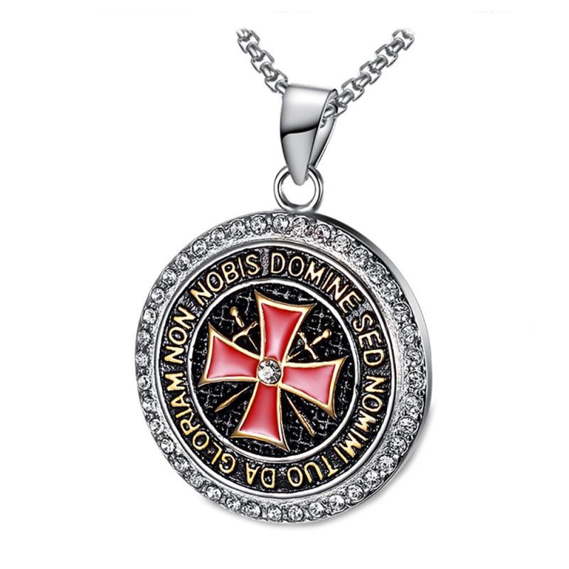 PE0158 BOBIJOO Jewelry Pendentif Templier Acier Strass Croix Non Nobis + Chaîne