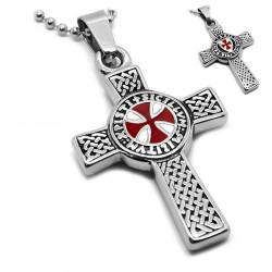 PE0153 BOBIJOO Jewelry Pendentif Templier Croix Latine Pattée Symbole + Chaîne