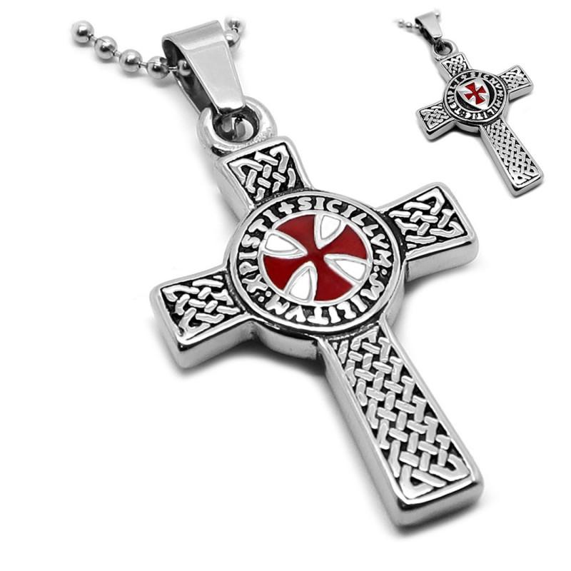 Pendentif Templier Croix Latine Pattée Symbole + Chaîne bobijoo