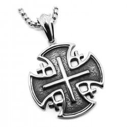 PE0141 BOBIJOO Jewelry Ciondolo Templare di San Sepolcro di Gerusalemme acciaio + String