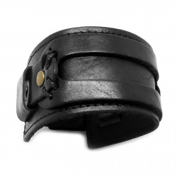 BR0061 BOBIJOO Jewelry Bracelet de Force Black Leather Real