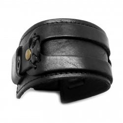 BR0061 BOBIJOO Jewelry Bracelet de Force Cuir Noir Véritable