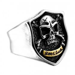 BA0274 BOBIJOO Jewelry Bague Chevalière Crâne Biker Tibias Tête de Mort Acier Or