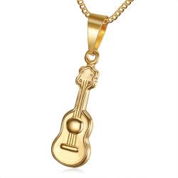 PE0180 BOBIJOO Jewelry Piccolo, Discreto, Ciondolo, Chitarra Acciaio Dorato Oro