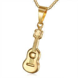 PE0180 BOBIJOO Jewelry Small, Discreet Pendant, Guitar Stainless Steel Golden Gold