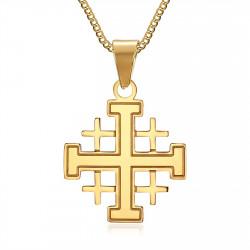 PE0181 BOBIJOO Jewelry Ciondolo Uomo Templari, Ordine Del Tempio Croce Gerusalemme D'Oro