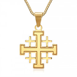 PE0181 BOBIJOO Jewelry Pendant Man Templar Order Temple Cross Jerusalem Golden